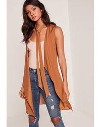Missguided | Orange Nude Waterfall Tie Neck Sleeveless Waistcoat | Lyst