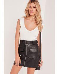 Missguided | Plunge Sleeveless Bodysuit White | Lyst