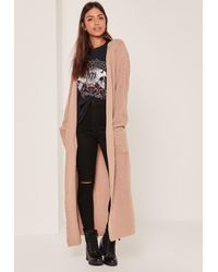 Missguided Nude Maxi Cardigan | Lyst