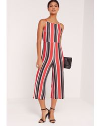 699298e1e3d8 Lyst - Missguided Striped Strappy Back Culotte Jumpsuit Red in Red
