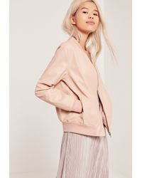 Missguided - Multicolor Faux Leather Bomber Jacket Nude - Lyst