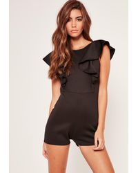 Missguided | Scuba Frill Sleeve Backless Romper Black | Lyst