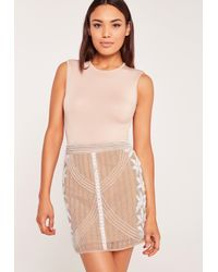 0167223c68 Lyst - Missguided All Over Embellished Skirt Nude