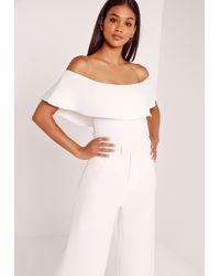Missguided | Scuba Bardot Bodysuit White | Lyst