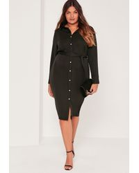 9023fbedaca0e Lyst - Missguided Plus Size Satin Button Through Belted Shirt Dress ...
