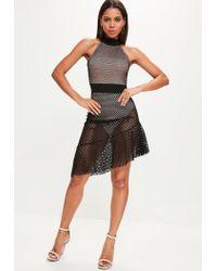 Missguided - Black Fishnet Mesh Halterneck Skater Dress - Lyst