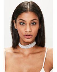 Missguided - Metallic Silver Diamond Choker Necklace - Lyst