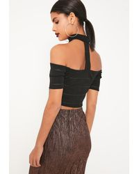 Missguided - Black Bandage Sheer Stripe Bardot Top - Lyst