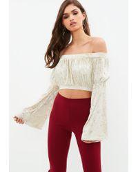 d3a64768a79b6 Lyst - Missguided Cream Velvet Bardot Flared Sleeve Crop Top