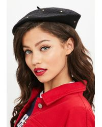 Missguided - Black Studded Beret - Lyst