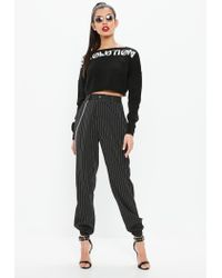 Missguided - Black Revolution Knitted Cropped Jumper - Lyst