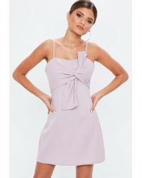 Missguided - Purple Mauve Tie Front Mini Dress - Lyst