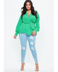 Missguided - Plus Size Green Long Sleeve Wrap Top - Lyst