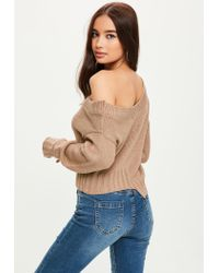 Missguided - Brown Deconstructed Cropped Sweater - Lyst