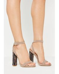 a303335921b Missguided Nude Beaded Block Heel Sandals in Natural - Lyst
