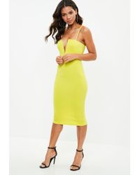 Missguided - Yellow Scuba Strappy V Bar Midi Dress - Lyst