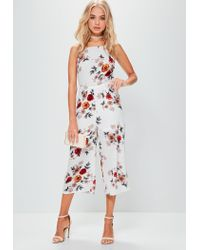 004c42d1c5d6 Lyst - Missguided White Racer Front Printed Culotte Jumpsuit in White