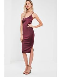 Missguided Burgundy Silky Plunge Midi Dress - Lyst 4271765a2