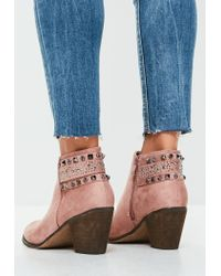 Missguided | Pink Studded Multi Buckle Ankle Boots | Lyst