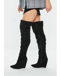 aec516698c57 Missguided Black Pointed Toe Wedge Knee High Boot in Black - Lyst