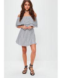 Missguided - Gray Grey Stripe Ruffle Layer Bardot Swing Dress - Lyst