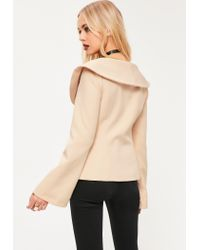 Missguided - Natural Nude Open Neck Side Tie Detail Crepe Blazer - Lyst