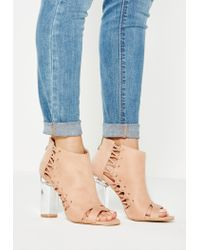 Missguided | Pink Whipstitch Clear Heel Ankle Boots | Lyst