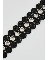Missguided - Black Crochet Metallic Ring Detail Choker Necklace - Lyst