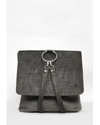 Missguided | Gray Grey Velvet Croc Pattern Backpack | Lyst