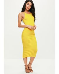 aa53b4b9e696 Missguided Yellow Low Back 90s Neck Bodycon Midi Dress in Yellow - Lyst