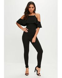 63056389afd8 Missguided Black 90s Neck Frill Jumpsuit in Black - Lyst