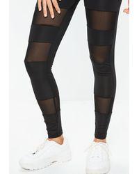 Missguided - Black Mesh Insert Gym Leggings - Lyst