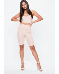 Missguided - Pink V Neck Ribbed Crop Top - Lyst