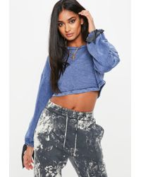 Missguided - Petite Blue Wash Cropped Jumper - Lyst