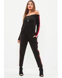 Missguided - Black Drawstring Bardot Stripe Jumpsuit - Lyst