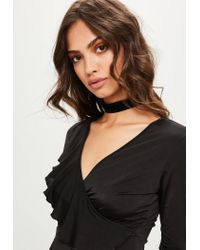 Missguided | Black Frill Slinky Playsuit | Lyst