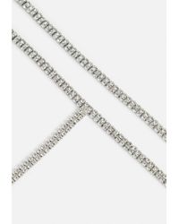 Missguided - Metallic Silver Crystal Lariat Necklace - Lyst
