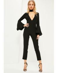 Missguided | Black Lace Cuff Flare Sleeve Jumpsuit | Lyst