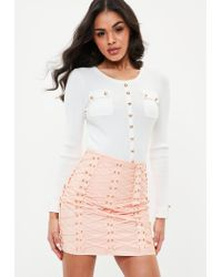 3ef370338aef0 Lyst - Missguided White Button Front Pocket Ribbed Knitted Top in White