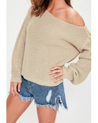 Missguided - Natural Beige Off Shoulder Knitted Sweater - Lyst