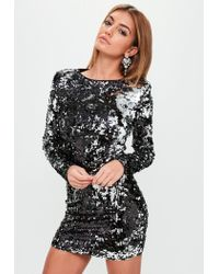 00f96bbd Missguided Black Two Tone Sequin Bodycon Dress in Black - Lyst