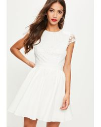 32e456c769 Lyst - Missguided White Lace Scoop Skater Dress in White