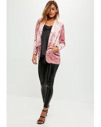 Missguided | Pink Crushed Velvet Blazer | Lyst