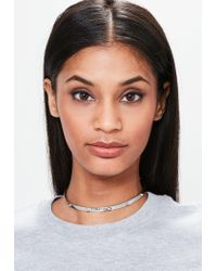 Missguided - Metallic Silver Metal Plate Choker Necklace - Lyst