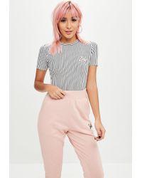Missguided - Barbie X Petite Black Striped Barbie Bodysuit - Lyst