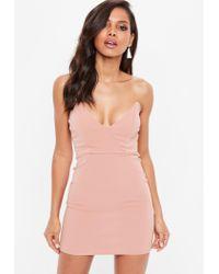 Missguided - Rose Pink Crepe V Bar Bandeau Bodycon Dress - Lyst