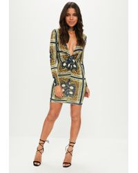Missguided - Blue Navy Slinky Chain Print Knot Front Plunge Dress - Lyst