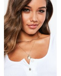 Missguided - Metallic Gold Look Diamante Charm Multirow Necklace - Lyst