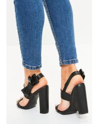 Missguided - Black Side Bow Block Heeled Sandals - Lyst