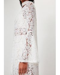 Missguided | Peace + Love White Long Sleeve Maxi Lace Jacket | Lyst